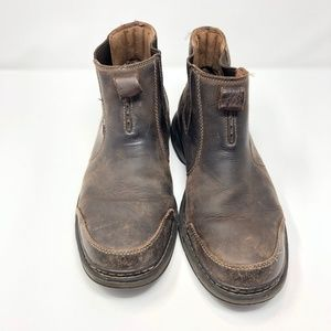 Mens 9 M Clarks Unstructured Boots Leather Brown S
